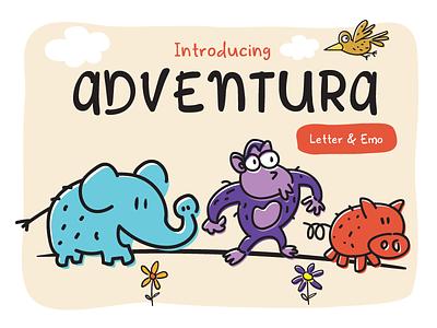 Adventura Letter book story child kids animal cute typography letter adventura