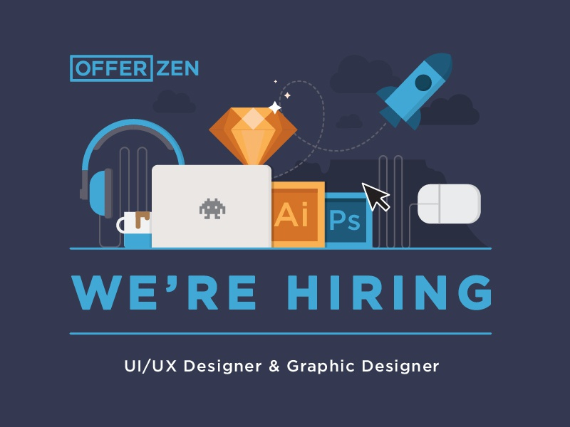 Offerzen is hiring career graphic designer design graphics opportunities rocket sketch illustrator hiring offerzen ux ui
