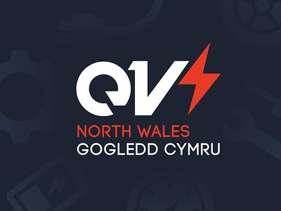 EV North Wales Branding simple navy blue red velocity font typeface logo branding electric vehicle ev