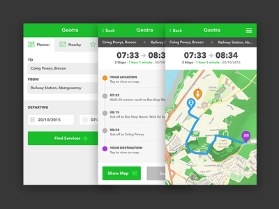 Transport app for iOS user interface mapping map routing bus green interface app ios transport