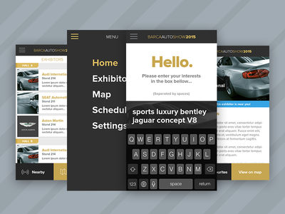 Auto Exhibition Companion App beacons proxima interface mobile clean car auto app