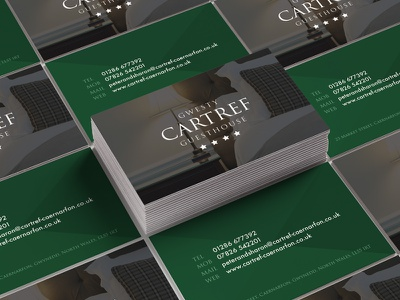 Cartref Guesthouse Business Cards simple green hotel bb guesthouse cards business