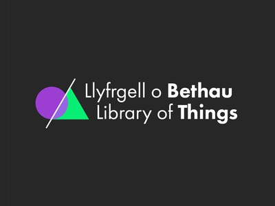 Library of Things Bilingual Logo circle triangle shapes futura simple purple green color colour logo library