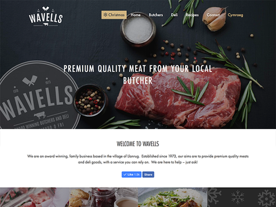 Wavells Butchers neutral gold retail food colour meat web design website butchers wavells