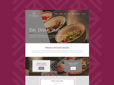 Tŷ Castell Website food purple hotel restaurant tapas ui design website
