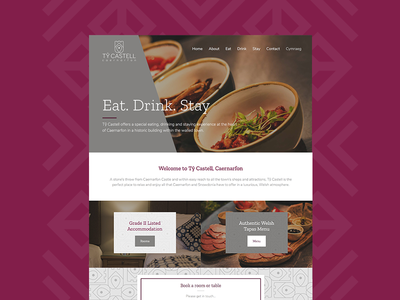 Tŷ Castell Website food purple hotel restaurant tapas ui design website