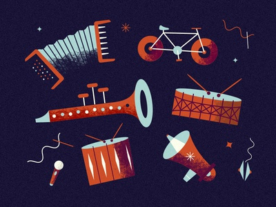 Music Poster music bike trumpet poster illustration