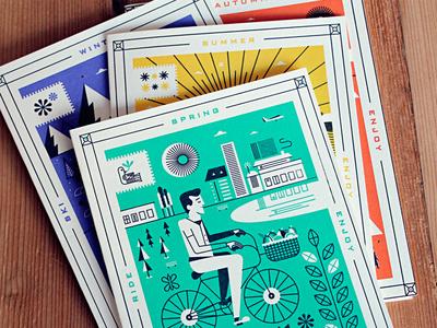 Enjoy holstee cards enjoy season summer spring winter autumn letterpress martin