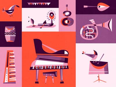 Let's play some music music jazz illustration martin azambuja guitar piano trumpet