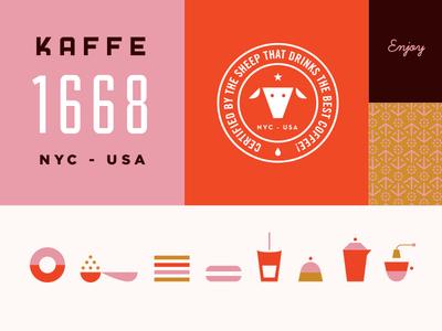 Kaffe 1668 coffe identity branding sheep icons martin azambuja illustration