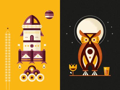 Kaffe 1668 - Juice Labels vector illustration juice labels owl rocket martin azambuja