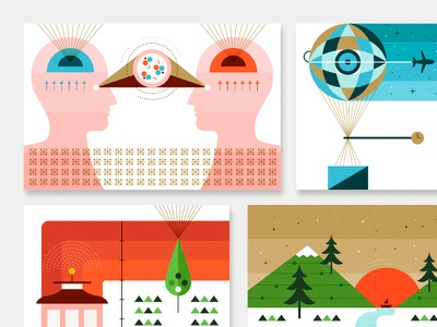 Airbnb vector illustration martin azambuja science aribnb music transport sf nature