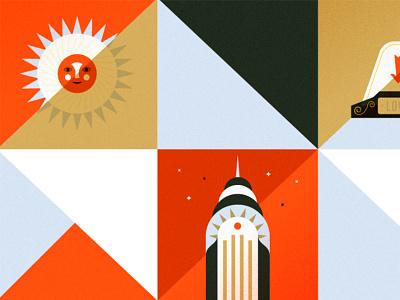 Squares vector illustration sun nyc chrysler martin azambuja new york
