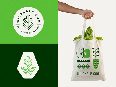 Wildkale eco green azambuja martin bag market farmer fruit mark logo illustration branding