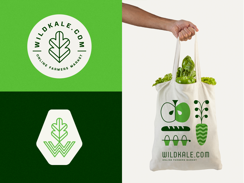 Wildkale eco green azambuja martin bag market farmer fruit mark logo illustration branding