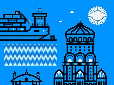 Ciudad Vieja azambuja martin sun ship blue salvo montevideo map illustration vector