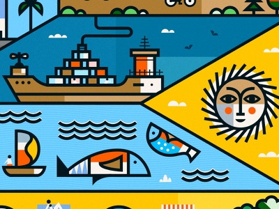 Montevideo martin azambuja fish ship color stroke line thick illustration vector city