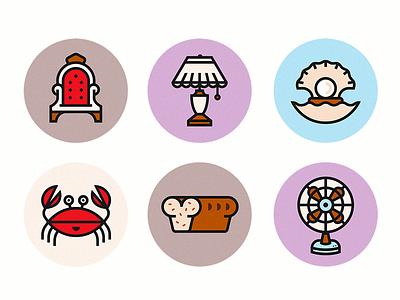 Icons round bread lamp crab azambuja martin stroke icons illustration vector icon