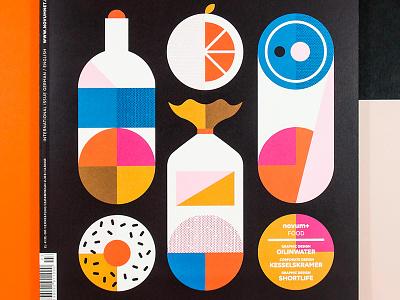 Novum Food azambuja martin orange bottle colors shapes illustration design cover food magazine novum
