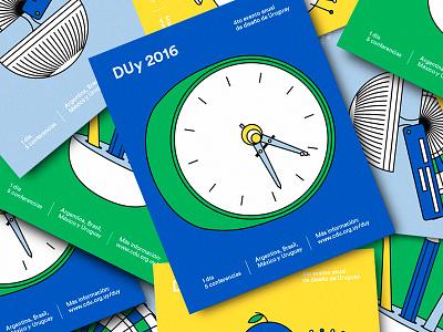 DUy 2016 azambuja martin vectors colors card poster compas clock event design