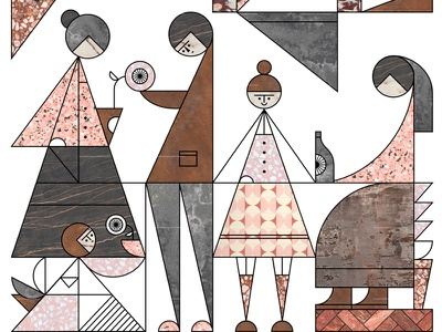 Vogue Living line thick geometry shapes azambuja martin texture illustration vector kitchen living vogue