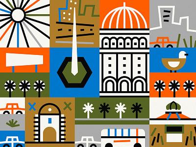 Ciudad Vieja azambuja martin shapes bird bus thick line color illustration vector city