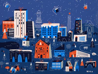 Feliz Navidad christmas illustration navidad city houses building gift trees noel santa claus