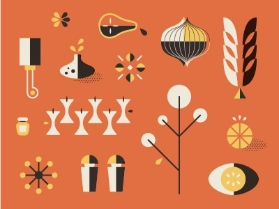 Elements food packaging icons elements fruit