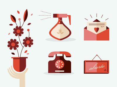 Flower shop items flower shop items icons phone open heart