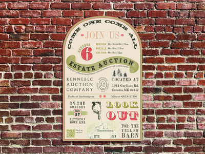Kennebec Auction Company | Branding & Advertising event branding event flyer event branding concept branding design poster design poster art poster advertising illustration typography logo graphic design design branding and identity branding