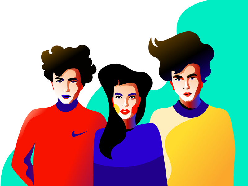 People man woman nike character portrait character design illustration
