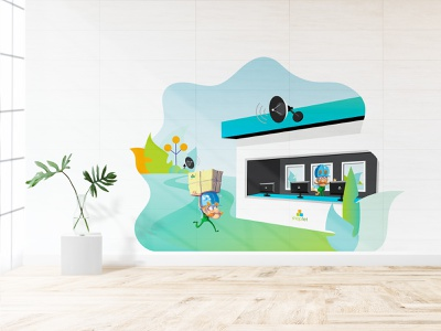 Delivery illustration mural package eshop delivery