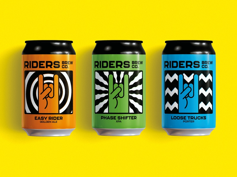 Riders Brew Co. – Rebrand, Can Artwork brand design brand identity packaging branding beer can beer label graphic design craft beer beer illustration