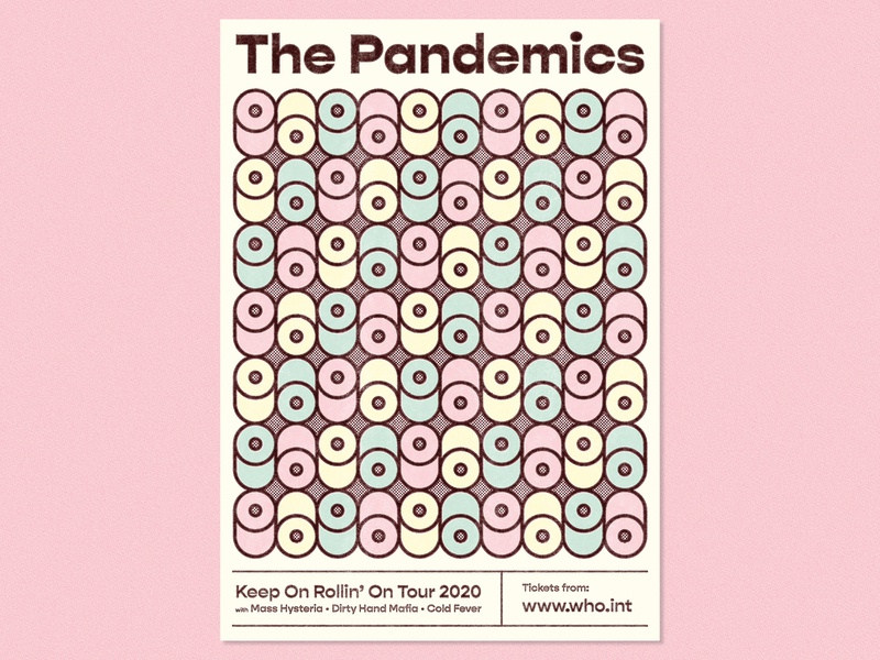 The Pandemics – Fantasy Tour Poster covid-19 halftones 70s design loo roll toilet roll pastel colours pandemic toilet paper corona virus tour poster gig poster graphic design illustration