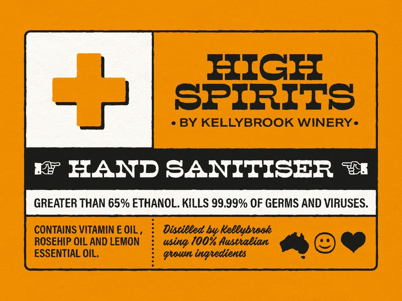 Kellybrook Winery – Hand Sanitiser Label Design corona corona virus covid covid-19 packaging design packaging label design label hand sanitiser retro typography vintage typography typography retro vintage orange graphic design