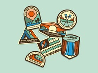 The Rapids – Brand Illustrations retro landscape vector art typography patches outdoors national parks illustration hiking graphic design branding camping badges adventure