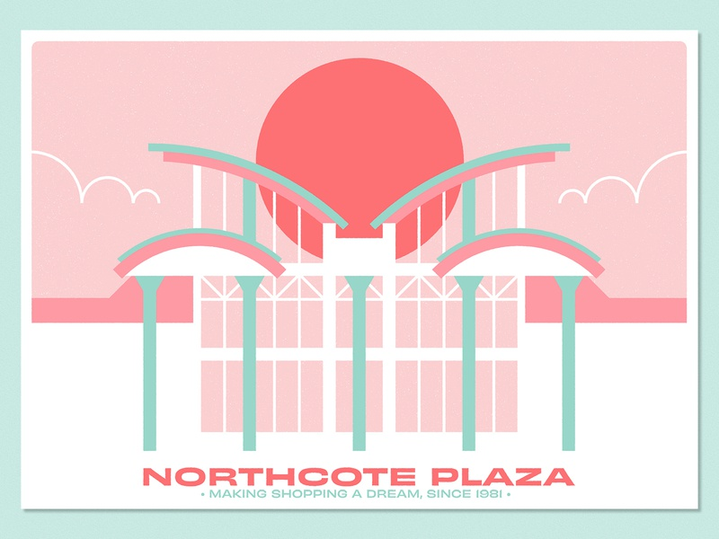 Northcote Plaza – Dumb Fun vector design vector art shopping mall shopping centre retro print pastel northcote plaza minimal design minimal melbourne graphic design architecture 80s 1980s