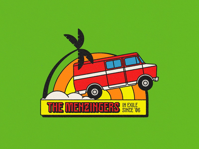 The Menzingers, Shirt Design – Weekly Warm-up vector art tour van van illustration graphic design badges badge tropical weekly warm-up 1970s vintage retro music design music band shirt the menzingers punk rock band merchandise band merch dribbbleweeklywarmup