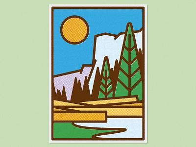 El Capitan – Print landscape travel vector illustration vector graphic art halftone yosemite illustration