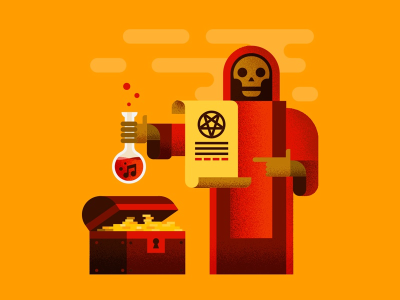 Sinister Character potion cloak vector illustration skull contract pentagram metal music gold treasure chest sell your soul