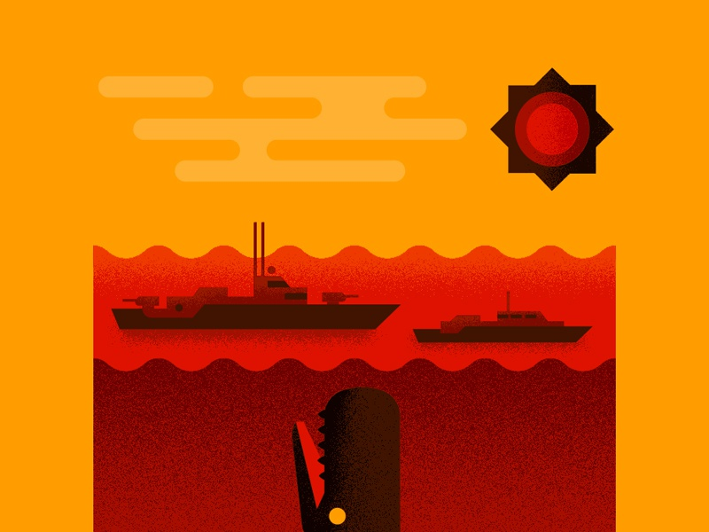 Leviathan underwater vector illustration sun clouds sea waves ships whale moby dick leviathan squid
