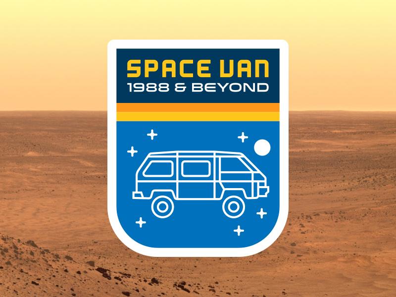 Space Van Mission Patch toyota van 1980s outer space 4x4 patch space stars adventure mission exploration wonderwagon