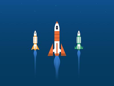 Data Migration to Astra app enterprise tech future flight vector science fiction migration rockets space database data illustration