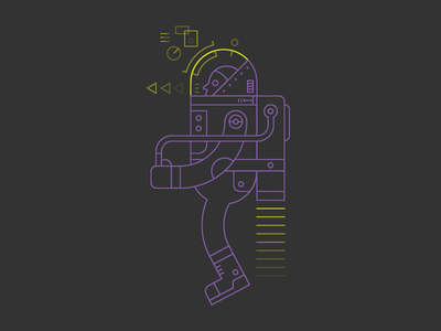 Jetpack Future hover futuristic flight technology character illustration jetpack future hud augmented reality space suit line