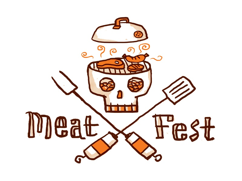 Meat Fest 2015 type skull crossbones utensils cooking grill cookout meat music festival illustration coals