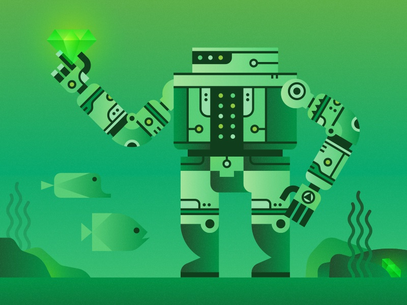 Robot Treasure Hunter science fiction robot underwater fish deep sea gem treasure green illustration character sci-fi technology