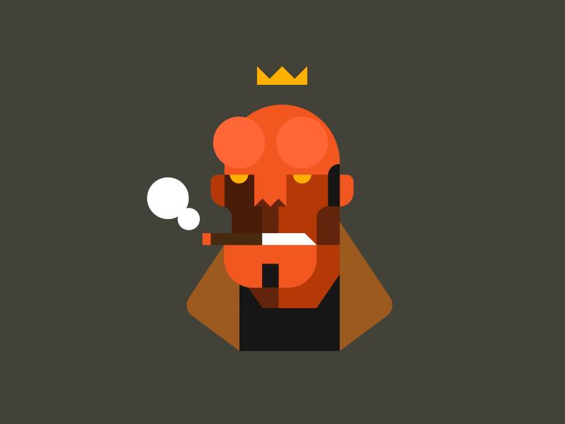 Hellboy bprd paranormal cigar crown illustration hell character comic book hellboy