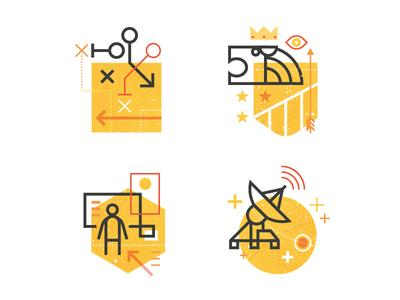 Capabilites texture shape line icons communication engagement experience identity strategy vector illustration