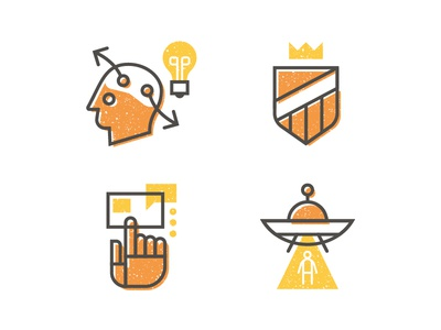 Capabilities 02 ufo texture shape line icons engagement experience identity strategy vector illustration