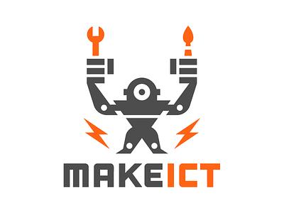 MakeICT 2 eye technology art tools empower robot identity makerspace maker make logo